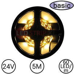 LEDStrip Warm Wit 5 Meter 60 LED 24 Volt - Basic