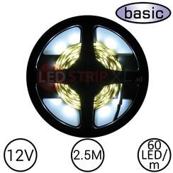 LEDStrip Koud Wit 2.5 Meter 60 LED 12 Volt - Basic