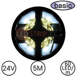 LEDStrip Koud Wit 5 Meter 60 LED 24 Volt - Basic