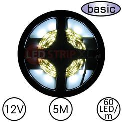 LEDStrip Koud Wit 5 Meter 60 LED 12 Volt - Basic