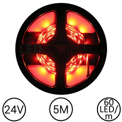 LEDStrip Rood 5 Meter 60 LED 24 Volt