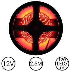 LEDStrip Rood 2,5 Meter 120 LED 12 Volt