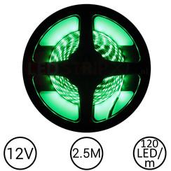 LEDStrip Groen 2,5 Meter 120 LED 12 Volt