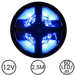 LEDStrip Blauw 2,5 Meter 60 LED 12 Volt