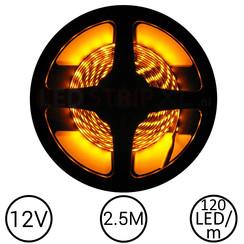 LEDStrip Geel 2,5 Meter 120 LED 12 Volt