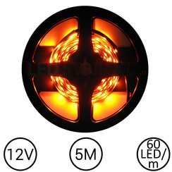 LEDStrip Oranje 5 Meter 60 LED 12 Volt