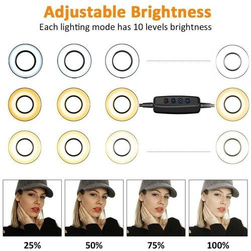 LED ring lamp met telefoonhouder - 3 lichtstanden voor selfies/vlogs - make-up lamp