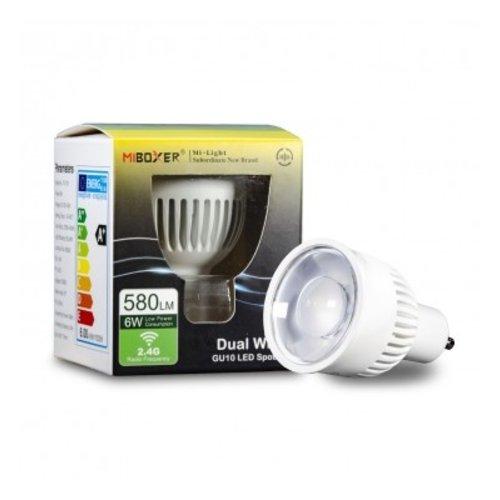 Milight / MiBoxer Dual White LED spot 6W GU10 met diffuse lens