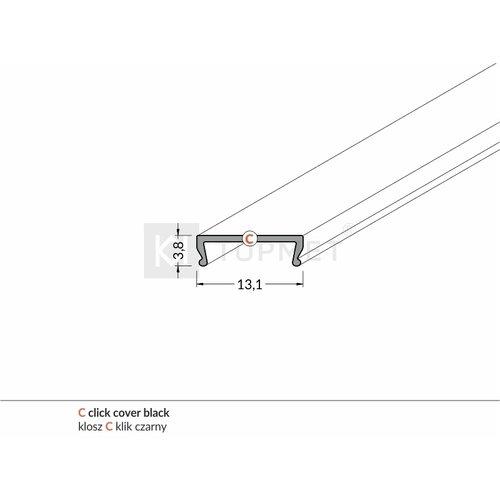 TOPMET Zwarte Click-Cover 1m voor 10mm TOPMET profielen