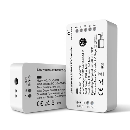 GLEDOPTO Zigbee PRO RGBW LED Strip Controller 12 ~ 54 Volt Philips Hue Compatible