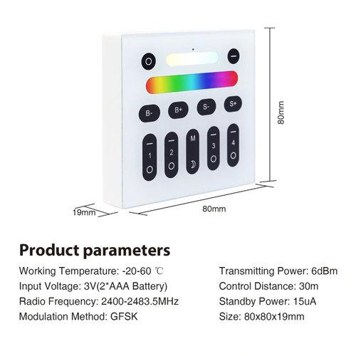GLEDOPTO RF Wandpaneel Color and White geschikt voor 4 Zones