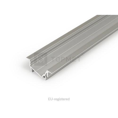 TOPMET 14mm Aluminium Inbouw Hoek Profiel 2 meter Zilver Geanodiseerd DIAGONAL14
