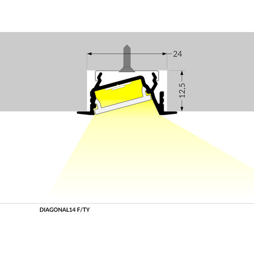 TOPMET 14mm Aluminium Inbouw Hoek Profiel 1 meter Zilver Geanodiseerd DIAGONAL14