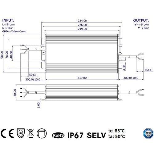 GLP 24 Volt 320 Watt IP67 Spatwaterdichte LED Voeding