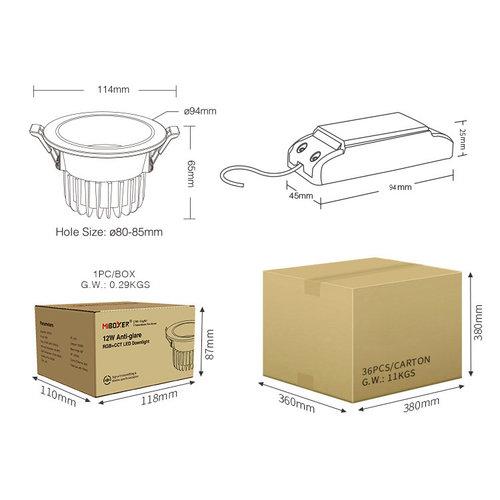 Milight / MiBoxer 6 Watt Anti-Glare RGB+CCT LED Downlight FUT070