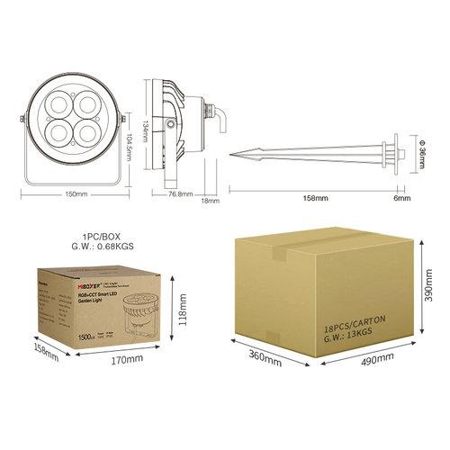 Milight / MiBoxer 18 Watt 230 Volt RGB+CCT IP66 Tuinspot FUTC09