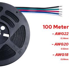 100 Meter Stroomdraad 5 Aderig RGBW