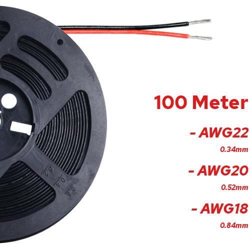 100 Meter Stroomdraad 2 Aderig Rood / Zwart