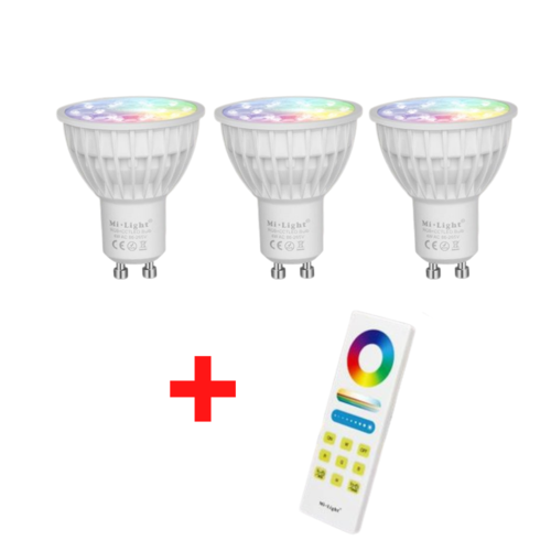 3 Stuks RGB+CCT GU10 LED Spot met Afstandsbediening