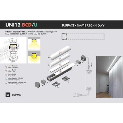 TOPMET Opbouw / Inbouw Profiel 1 Meter UNI12