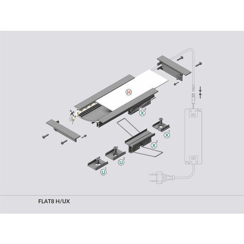 TOPMET Inbouw Profiel voor wanden 2 Meter FLAT8
