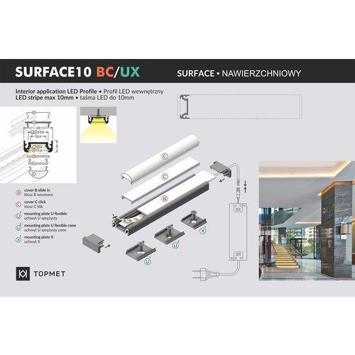 TOPMET Opbouw Profiel 10mm 2 Meter SURFACE10