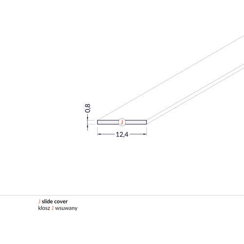 TOPMET Milky Cover 2 Meter J Slide voor Begton12 en Begtin12 Profielen