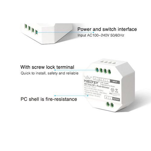 Milight / MiBoxer TRIAC Inbouw ELV LED RF 2.4Ghz AC 230v Dimmer met PushDim