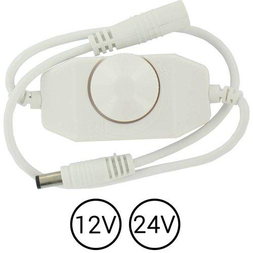 ledstrip snoerdimmer wit met draaiknop voor 12 en 24V