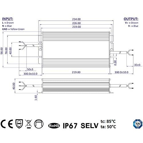 GLP 12 Volt 264 Watt IP67 Spatwaterdichte LED Voeding