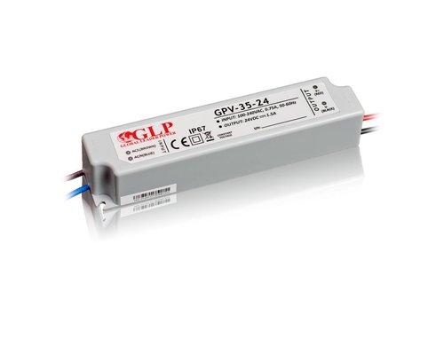 GLP Waterdichte LEDStrip Voedingsadapter 24 Volt 1.5 Ampere Transformator