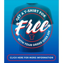 Free tee for orders over €20,-