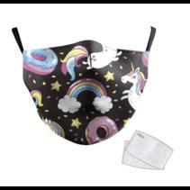 Unisex-Gesichtsmaske für Erwachsene Rainbow Unicorn 2