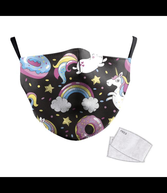 DG Unisex-Gesichtsmaske für Erwachsene Rainbow Unicorn 2