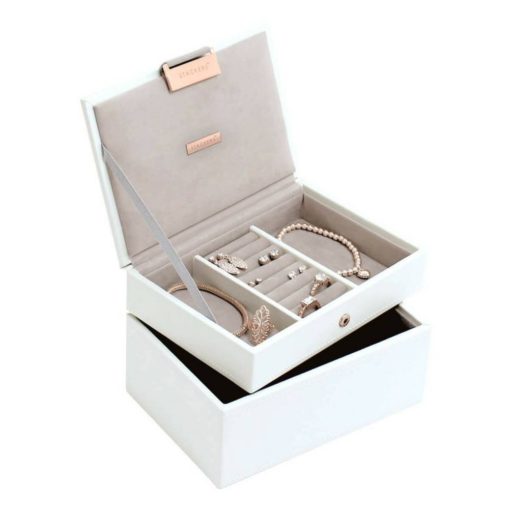 Mini 2-Set Schmuckkasten | White & Stone + Rose Gold-2