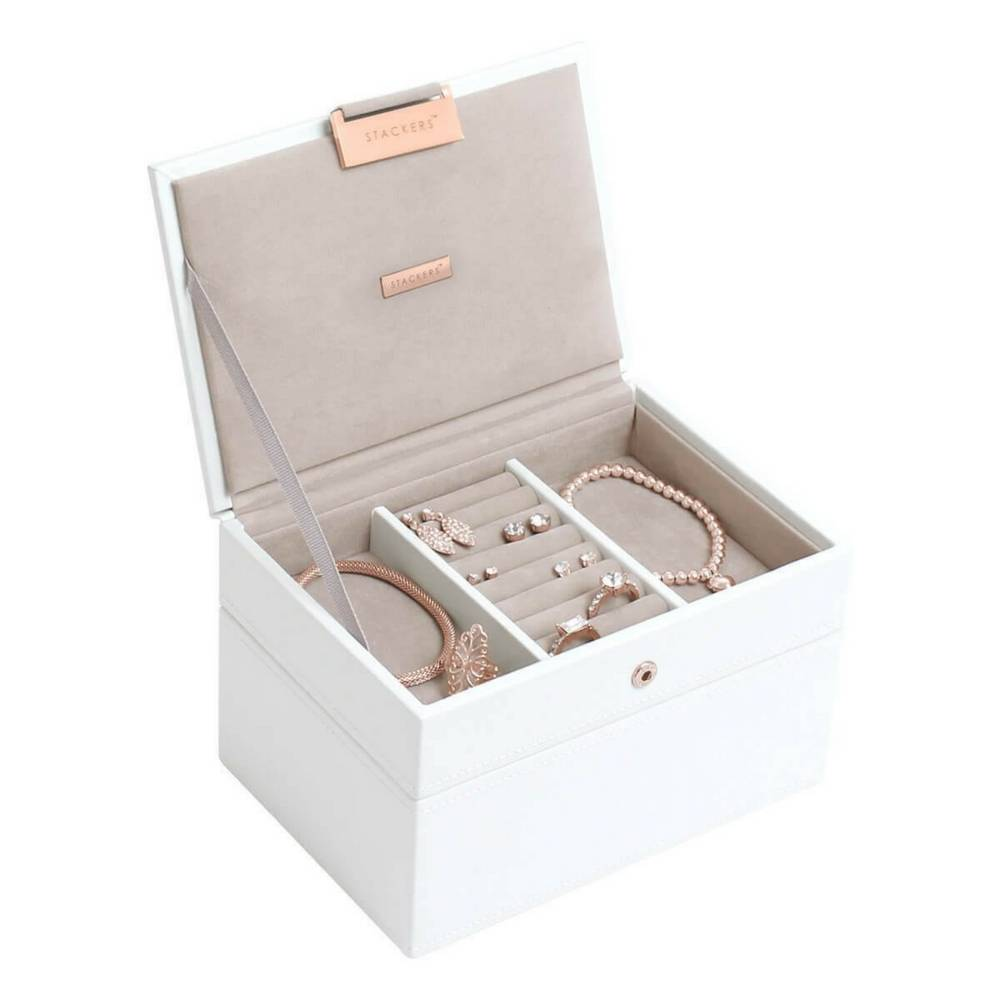 Mini 2-Set Schmuckkasten | White & Stone + Rose Gold-1
