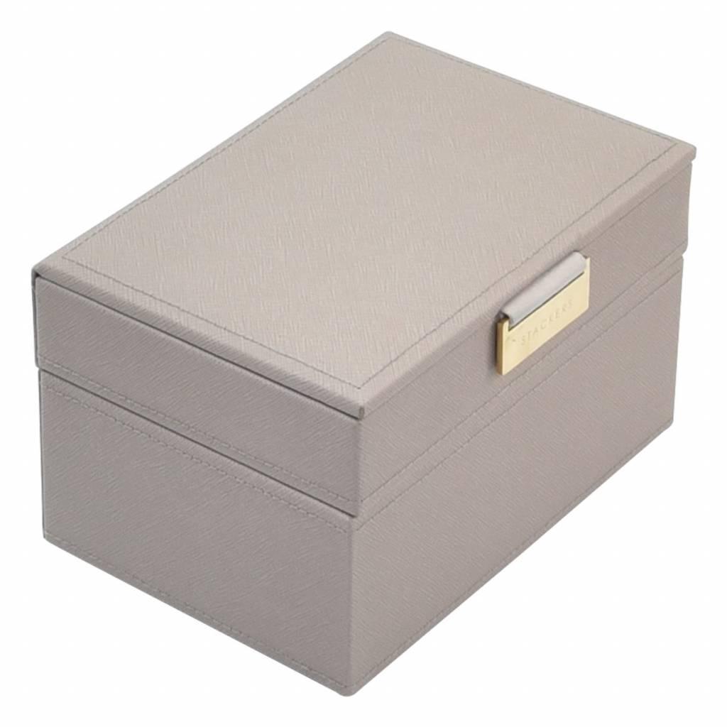 Mini 2-Set Juwelendoos - Taupe & Grey Velvet-1
