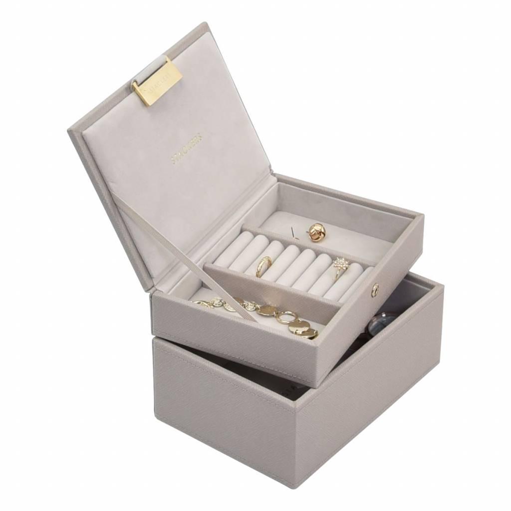 Mini 2-Set Juwelendoos - Taupe & Grey Velvet-2
