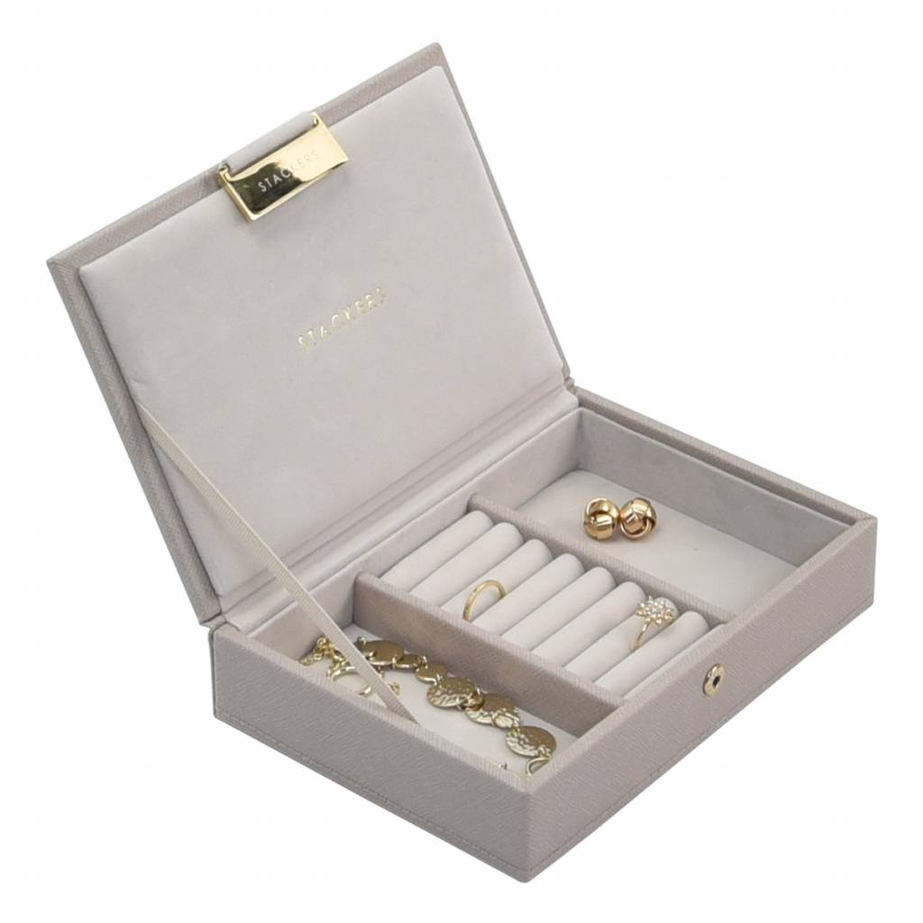 Mini 2-Set Juwelendoos - Taupe & Grey Velvet-3