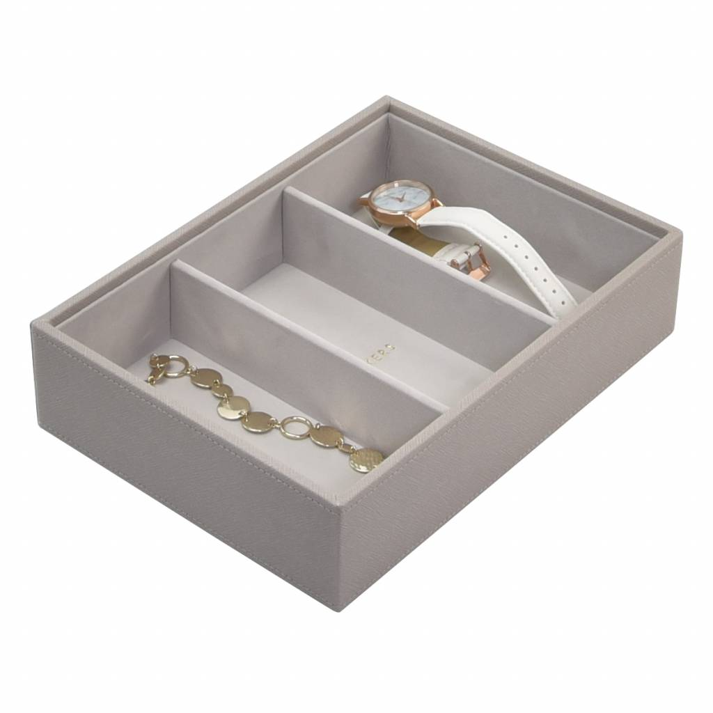 Classic 3-Section Box Taupe & Grey Velvet-1