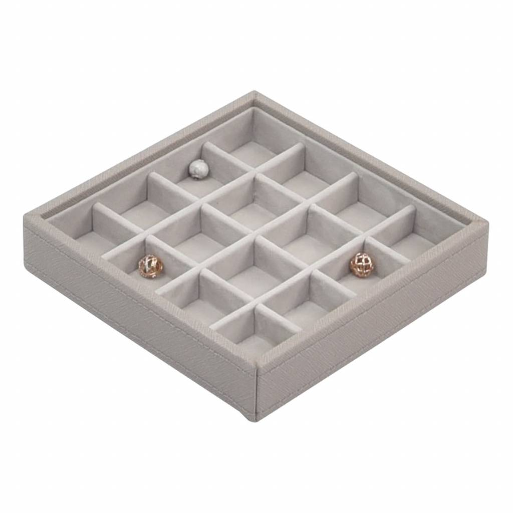 Charm 16-Section Box Taupe & Grey Velvet-1