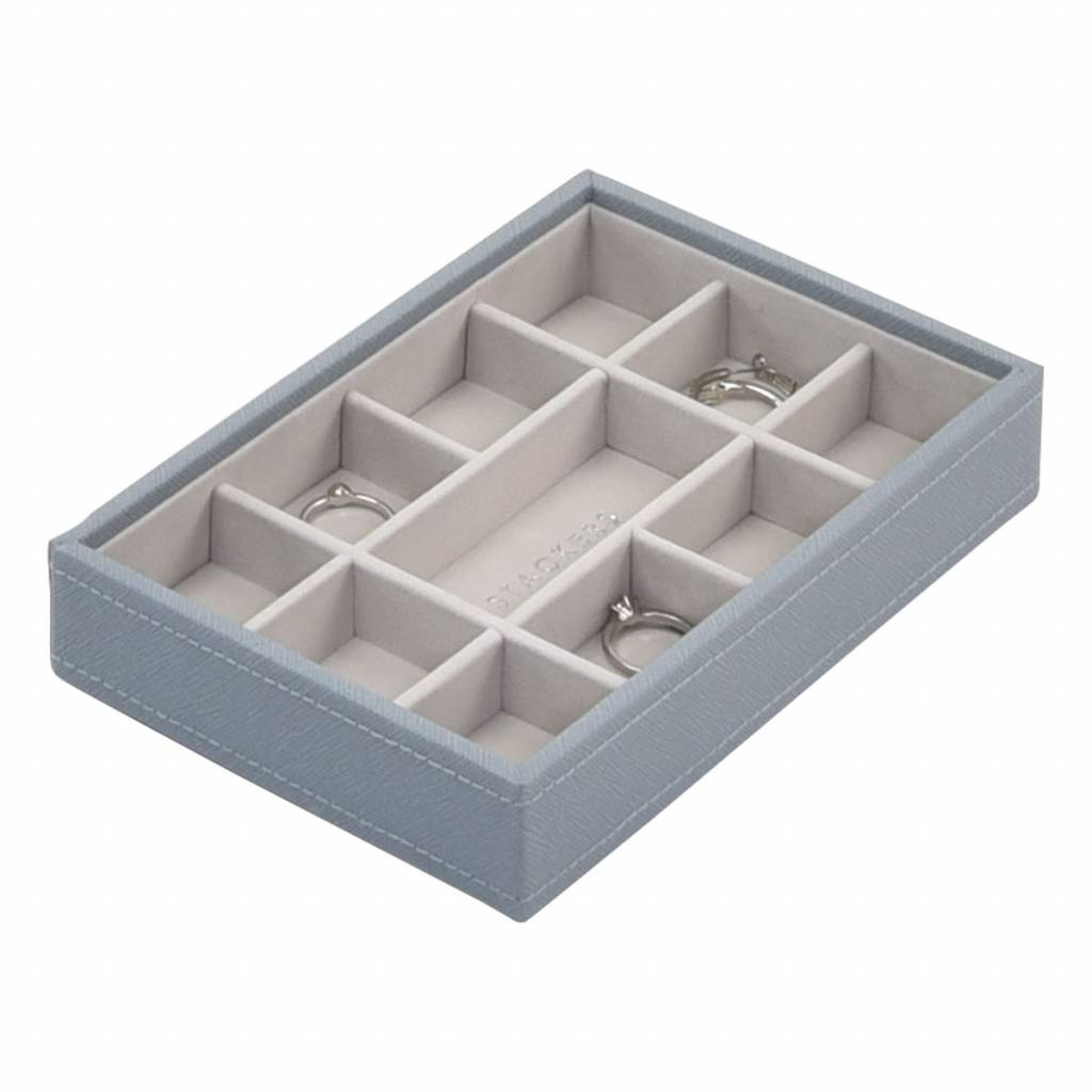 Mini 11-Section Box Dusky Blue & Grey Velvet-1