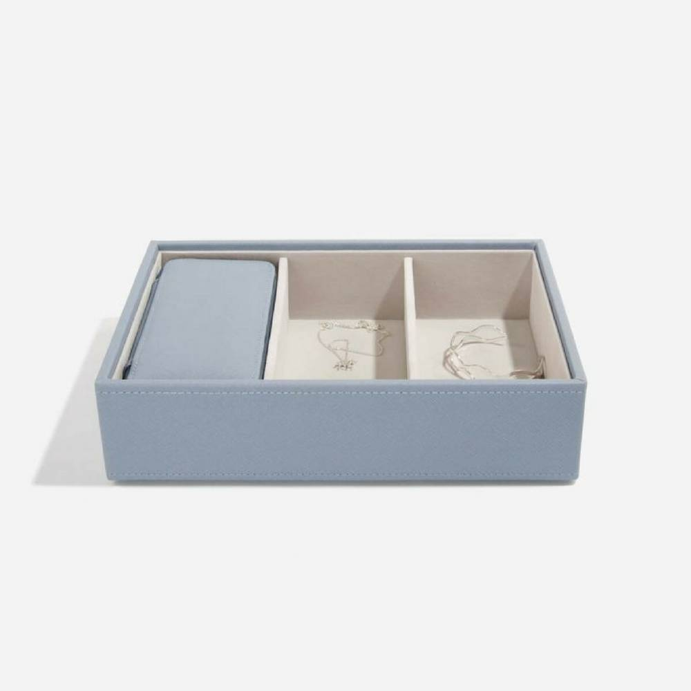 Classic Etui / Travel Box in Dusky Blue & Grey-3