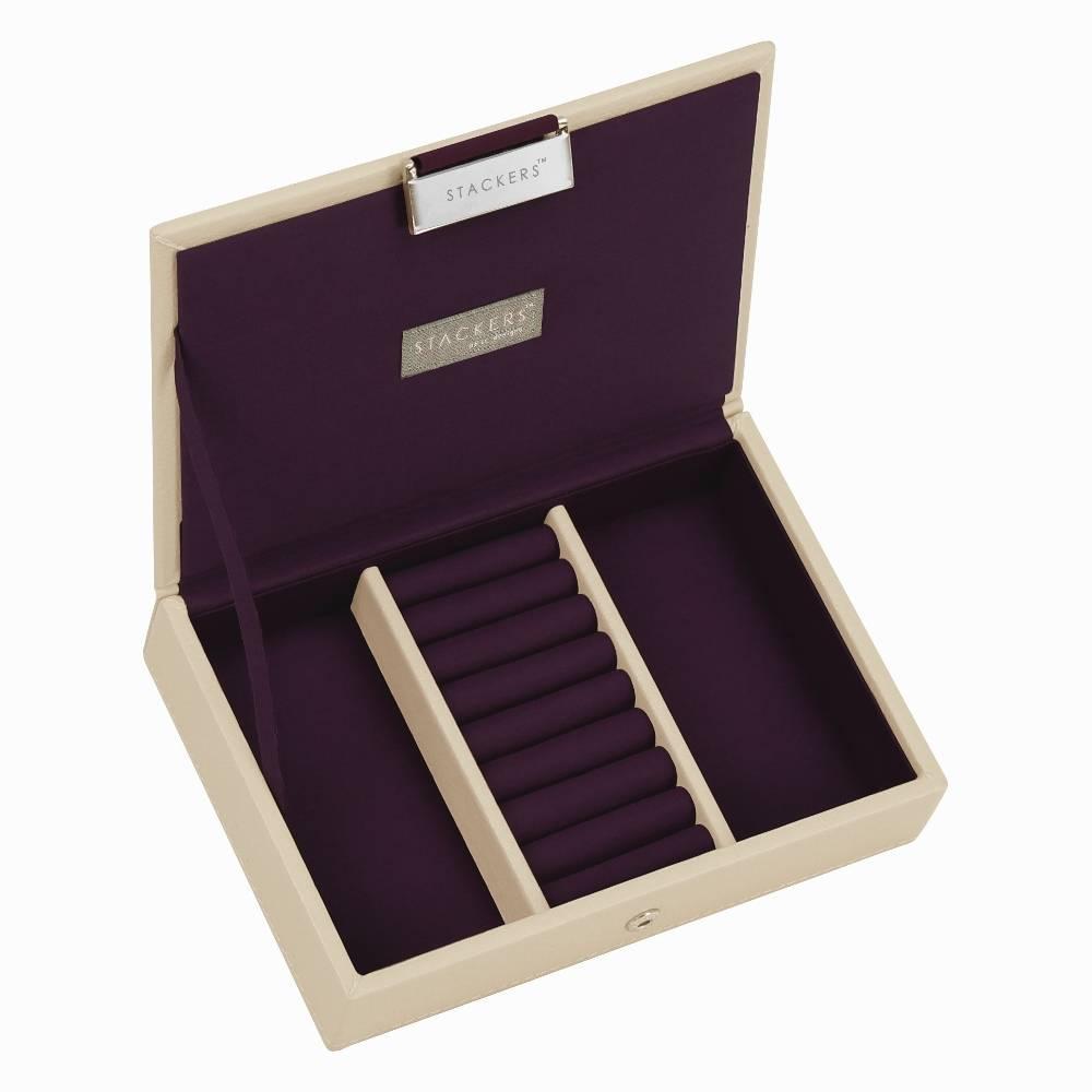 Lidded Mini Stacker in Cream & Purple-1