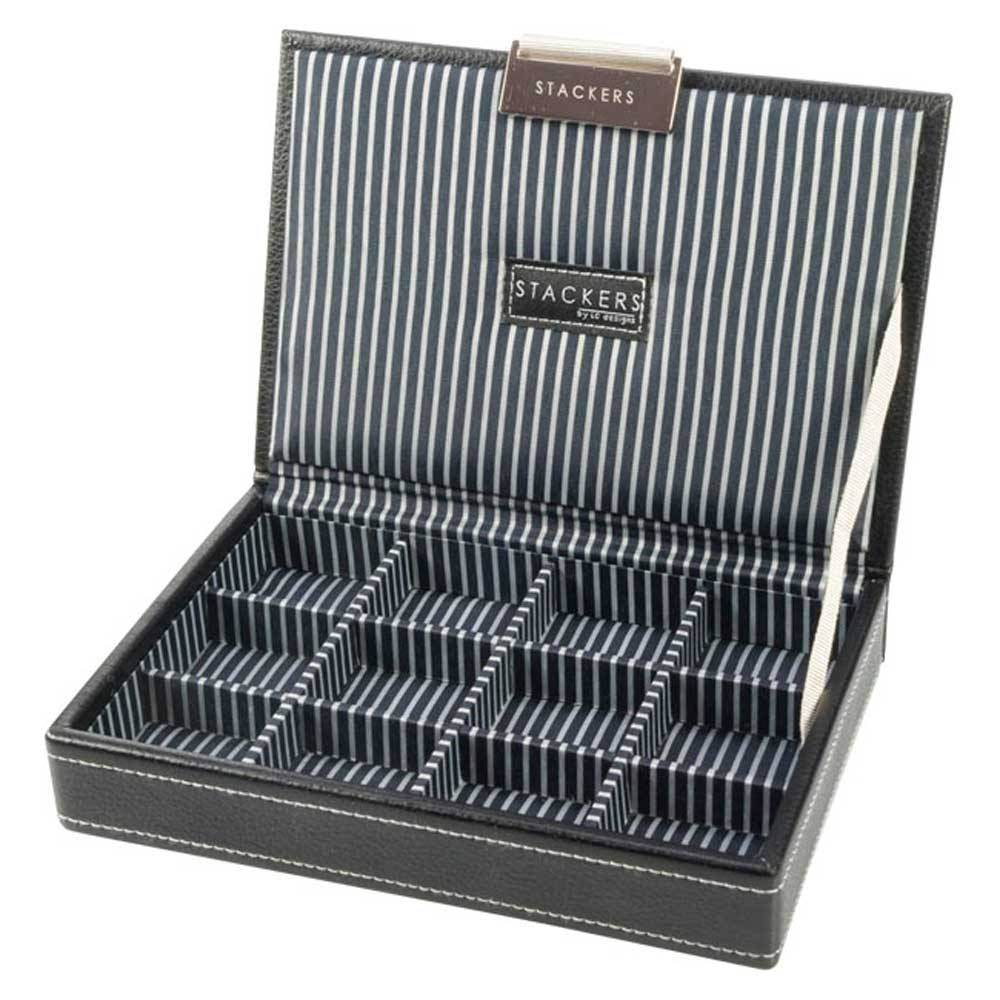 Box Mini Top Stacker voor Manchetknopen in Zwart & Strepen-1