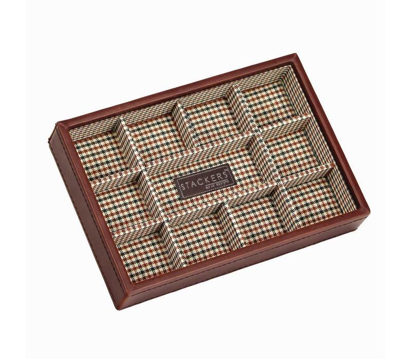 Box Mini 11-Section Stacker voor Manchetknopen in Tan & Check