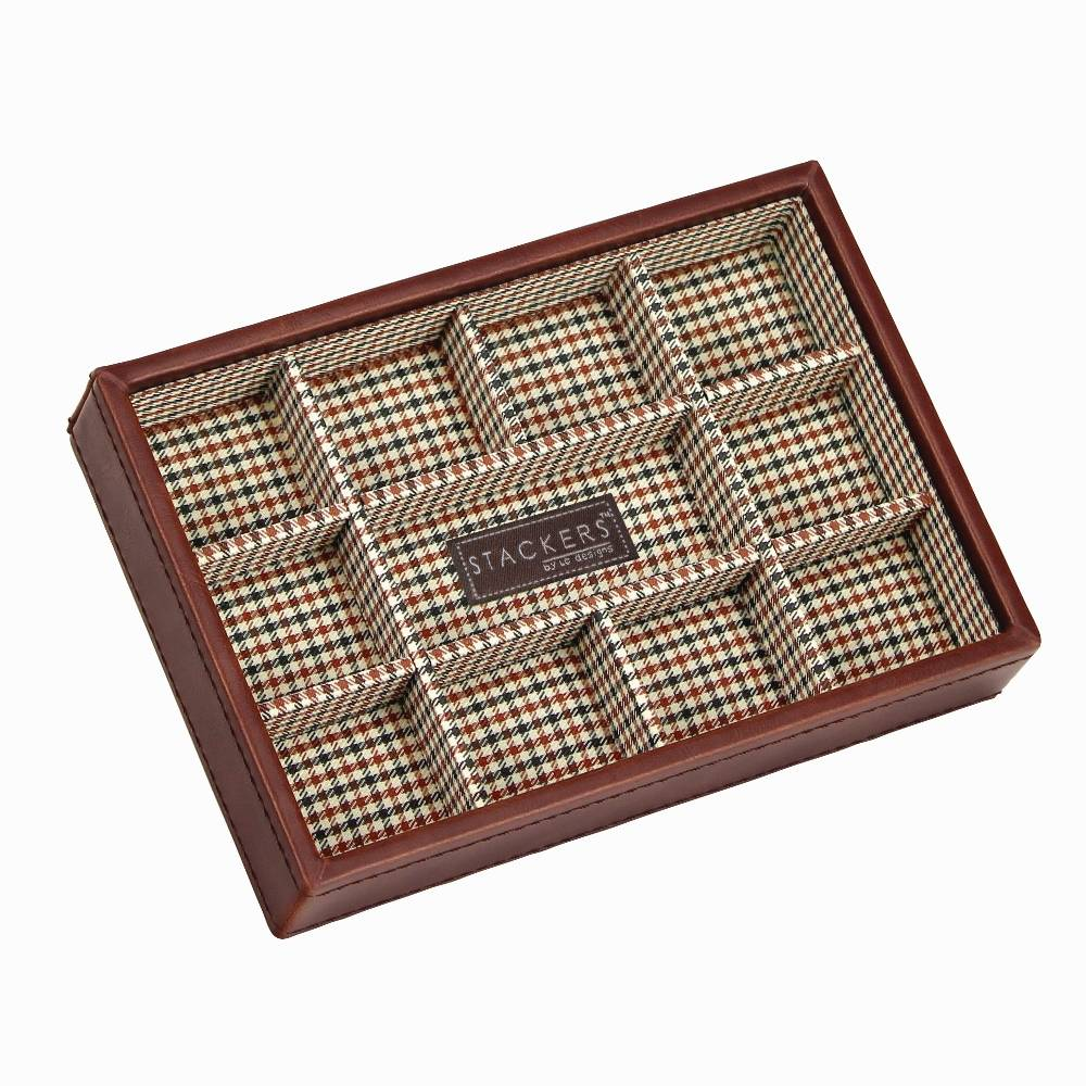 Open Cufflink Stacker in Tan & Check-1