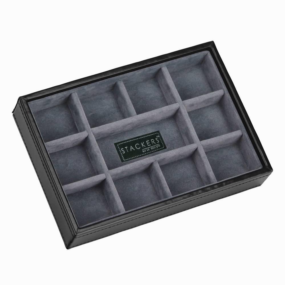 Mini 11-Section Stacker voor Manchetknopen in Zwart & Grijs-1