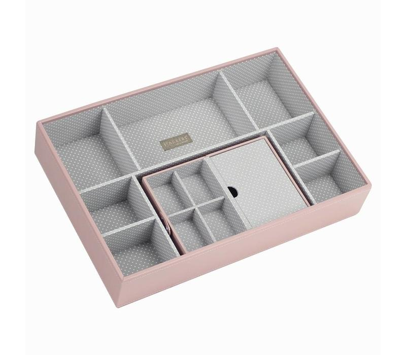 Travel Box in Soft Pink & Grey Spot