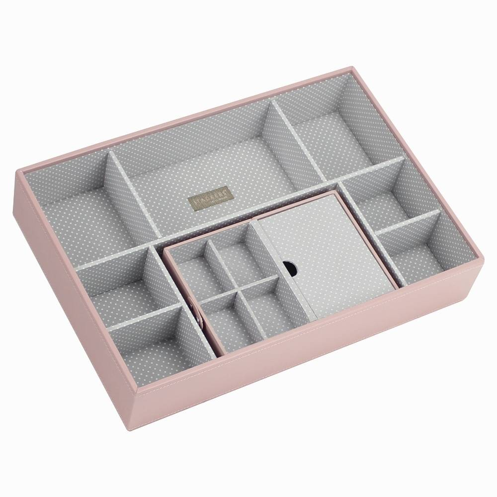 Travel Box in Soft Pink & Grey Spot-3